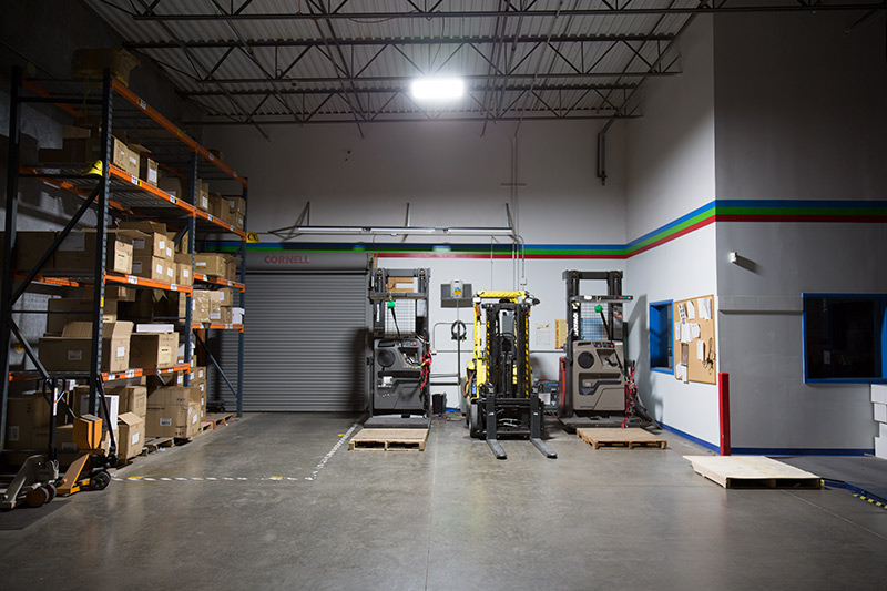 LED linear high bay lights in warehouse