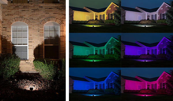Landscape Lighting Design - floodlights on house