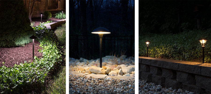 Landscape Lighting Design - path lights in garden