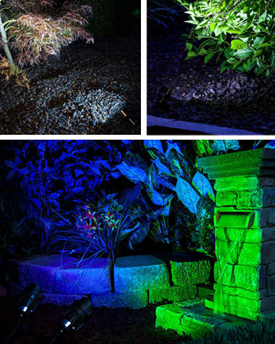 Landscape Lighting Design - spotlights in garden