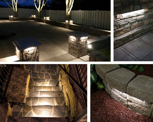 Landscape Lighting Design - hardscape lights on stone walls steps
