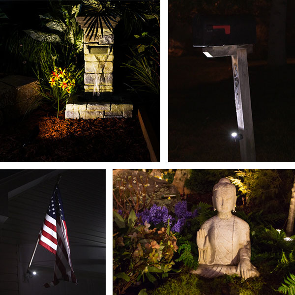Landscape Lighting Design - spotlight on flag statue mailbox
