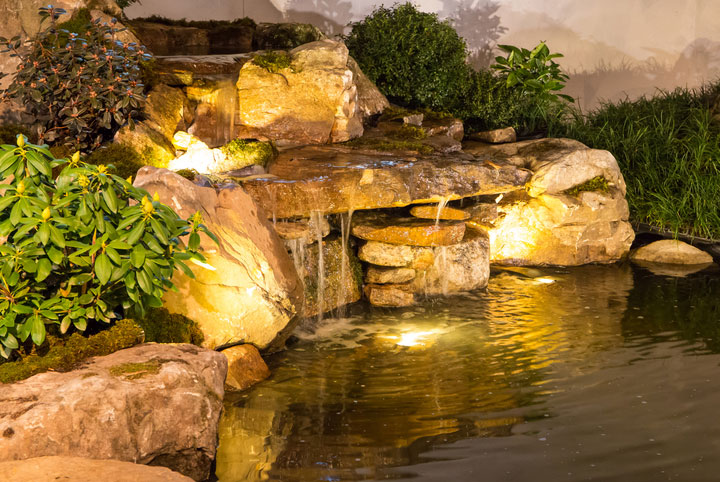 Landscape Lighting Design - spotlights in pond