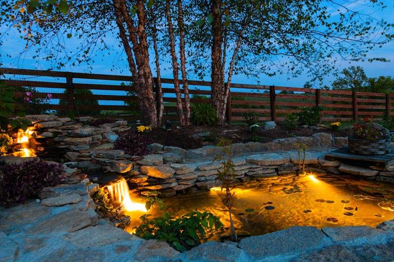 Landscape Lighting Design - well lights in pond