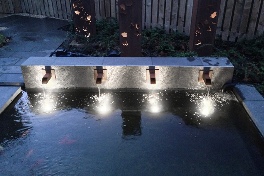Landscape Lighting Design - surface mount lights in pond