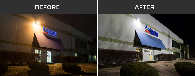 CCA LED parking lot lights project - storefront