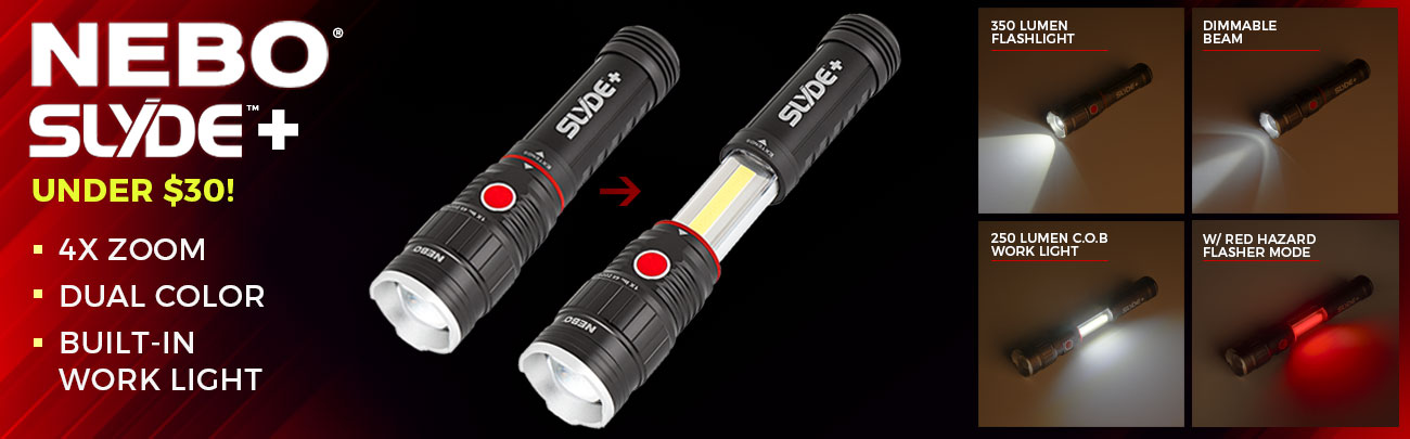 LED Flashlight/Work Light - NEBO SLYDE+ - 300 Lumens - #6525