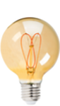 G25 Carbon Filament Style Bulb w/ Gold Tint - 20 Watt Equivalent - Heart Shape - Ultra Warm White