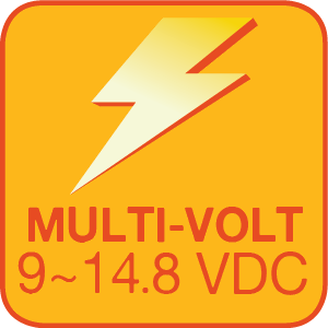 The WFLS-RGB3-CL has an operating voltage range of 9~14.8 VDC