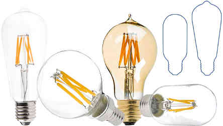 CA10 LED Filament Bulb - 40 Watt Equivalent Candelabra LED Vintage ...