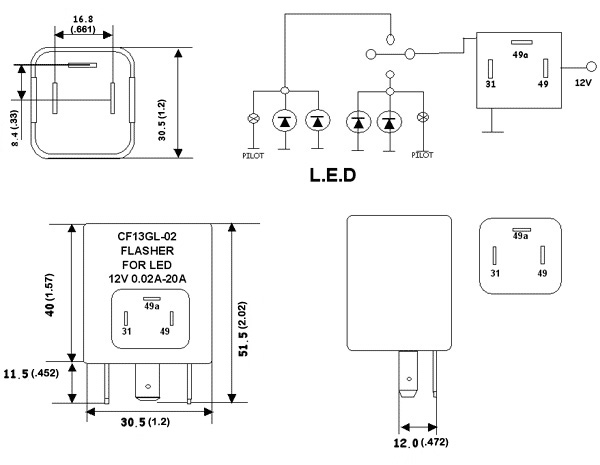 CF13GL 02_mm cf13gl 02 led bulb electronic flasher flashers & load resistors 3 pin led flasher relay wiring diagram at soozxer.org
