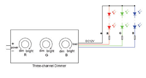 three color rgb led dimmer