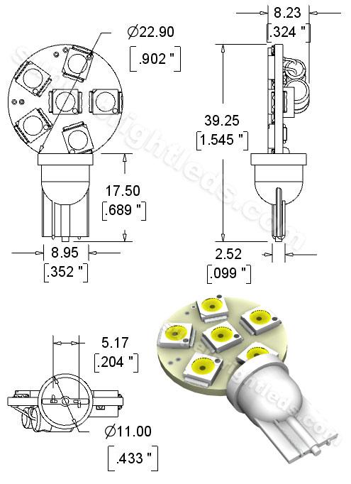 194 led bulb - 6 smd led disc