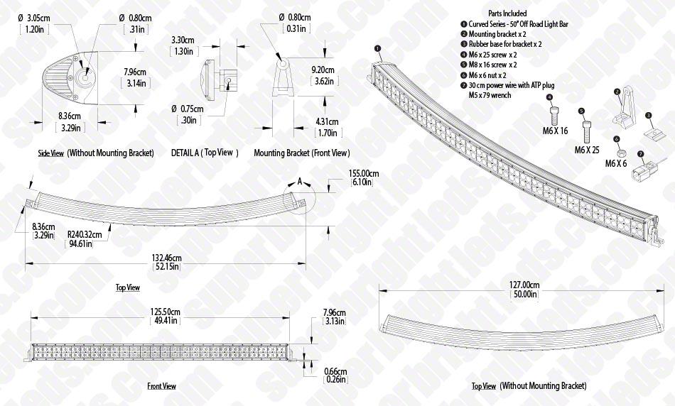 50 Off Road Curved Led Light Bar 288w Industrial Led