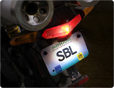 Motorcycle Tail/Brake & License Plate Illuminated