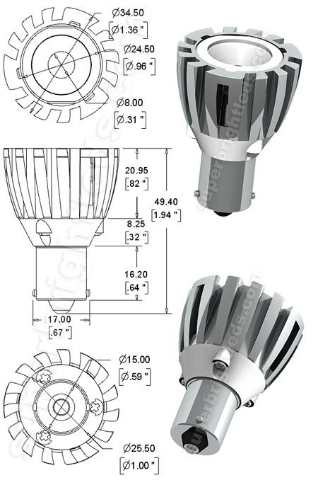 R12 Led Bulb - 1 Led 1156 Bulb