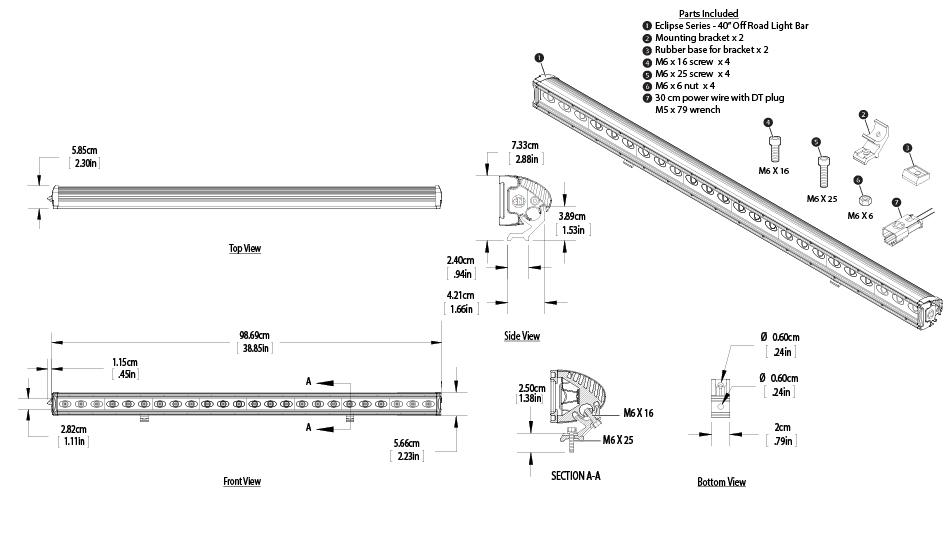 40off road led light bar  u2013 120w