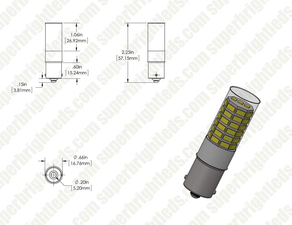 1156 LED Bulb - 51 SMD LED Tower - BA15S Retrofit with Lens