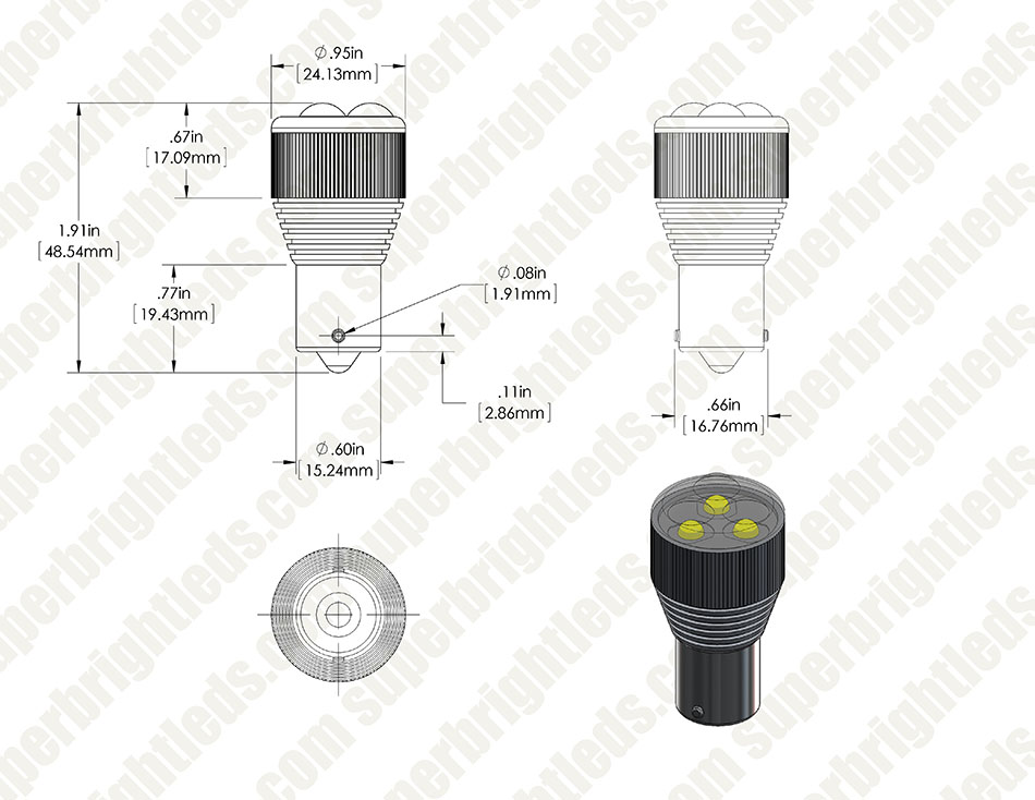 1156 LED Bulb w/ Removable Lens - 3 High Power LED - BA15S Retrofit