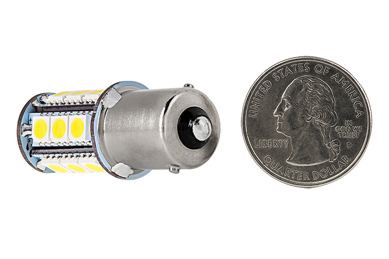 1156 Light Bulb: 1156 LED Bulb - 18 SMD LED Tower - BA15S Retrofit: Back View,Lighting