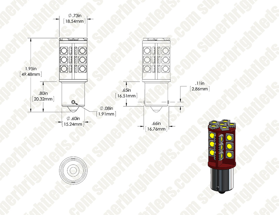 1156 CAN Bus LED Bulb - 30 SMD LED Tower - BA15S Retrofit