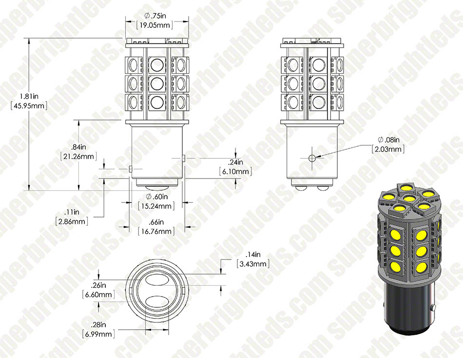 1157 led bulb - dual function 27 smd led tower