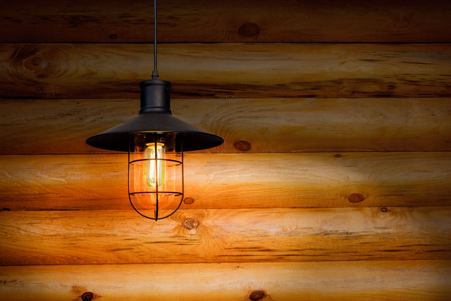 T14 LED Filament Bulb   35 Watt Equivalent Vintage Light Bulb   Radio Style    12V AC/DC: Installed In Fixture In Off Grid Cabin