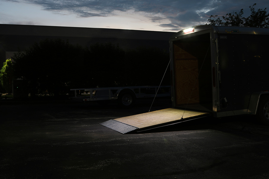 16 RV Awning Lights Shown Installed Over Trailer Door In Natural White