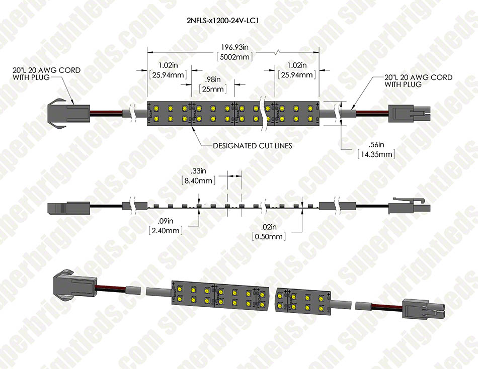 Dual Row LED Light Strips - LED Tape Light with 72 SMDs/ft., 1 Chip SMD LED 3528 with LC2 Connector