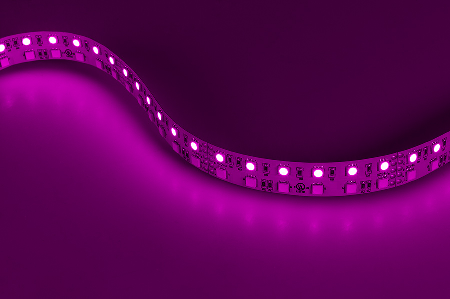 Rgbw led strip lights dual row 24v led tape light w white and dual row led light strips with multi color white leds led tape light with 18 smdsft 3 chip rgbw smd led 5050 gallery showing strip on in magenta aloadofball Images
