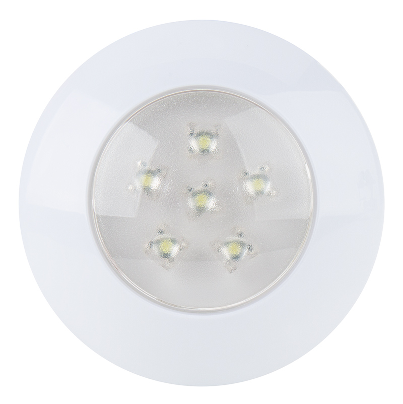 Round LED Dome Light Fixture   3u201d LED Dome Light W/ 6 High Flux LEDs    Pigtail Connector: Front View
