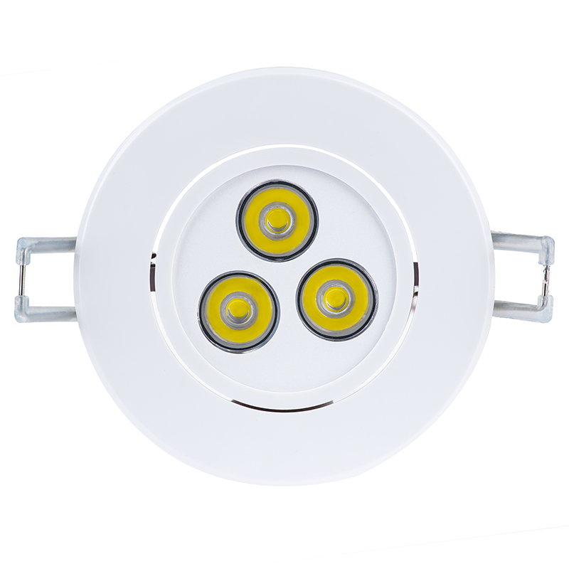 led recessed light fixture aimable and dimmable front view of recessed