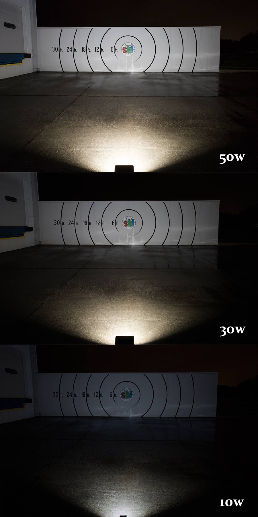 30 Watt LED Flood Light Fixture - Low Profile Showing Beam Patterns On Target From Approximately 25u0027. & 30 Watt LED Flood Light Fixture - Low Profile - 2500 Lumens | LED ... azcodes.com