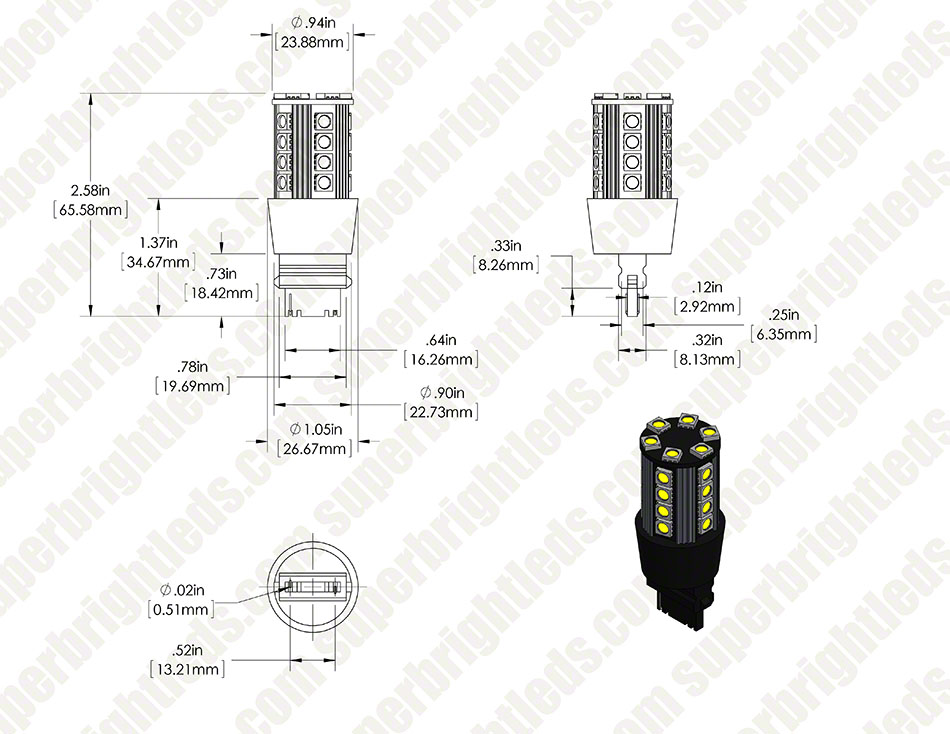 3156 CAN Bus LED Bulb - Single Intensity 26 SMD LED Tower