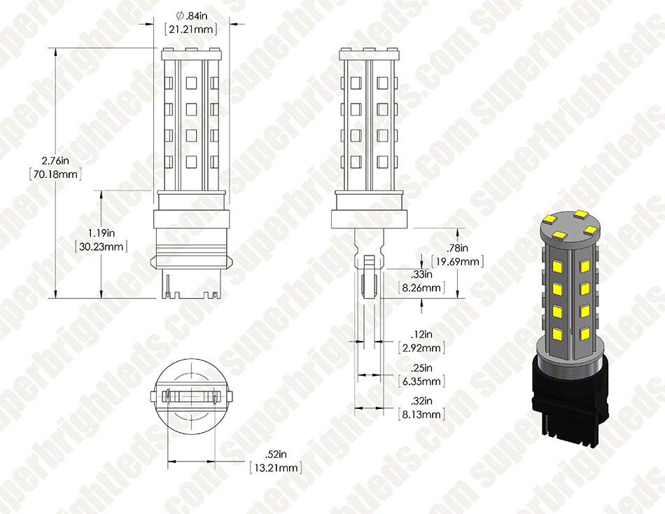 3156 LED Bulb - 28 SMD LED Tower - Wedge Retrofit