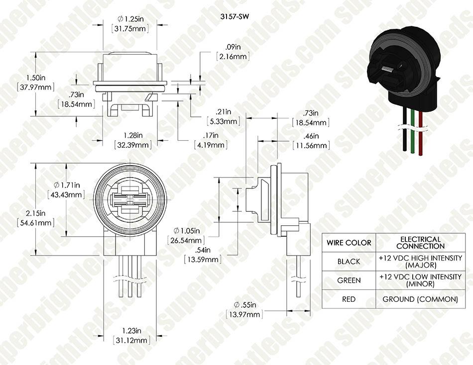 3156/3157 wedge base sockets - wired | super bright leds  super bright leds