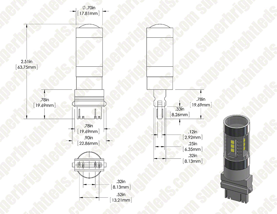 3157 LED Bulb - Dual Intensity 15 SMD LED Tower