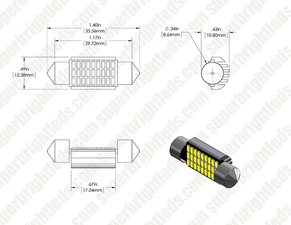 6418 LED CAN Bus Bulb - 27 SMD LED Festoon - 36mm