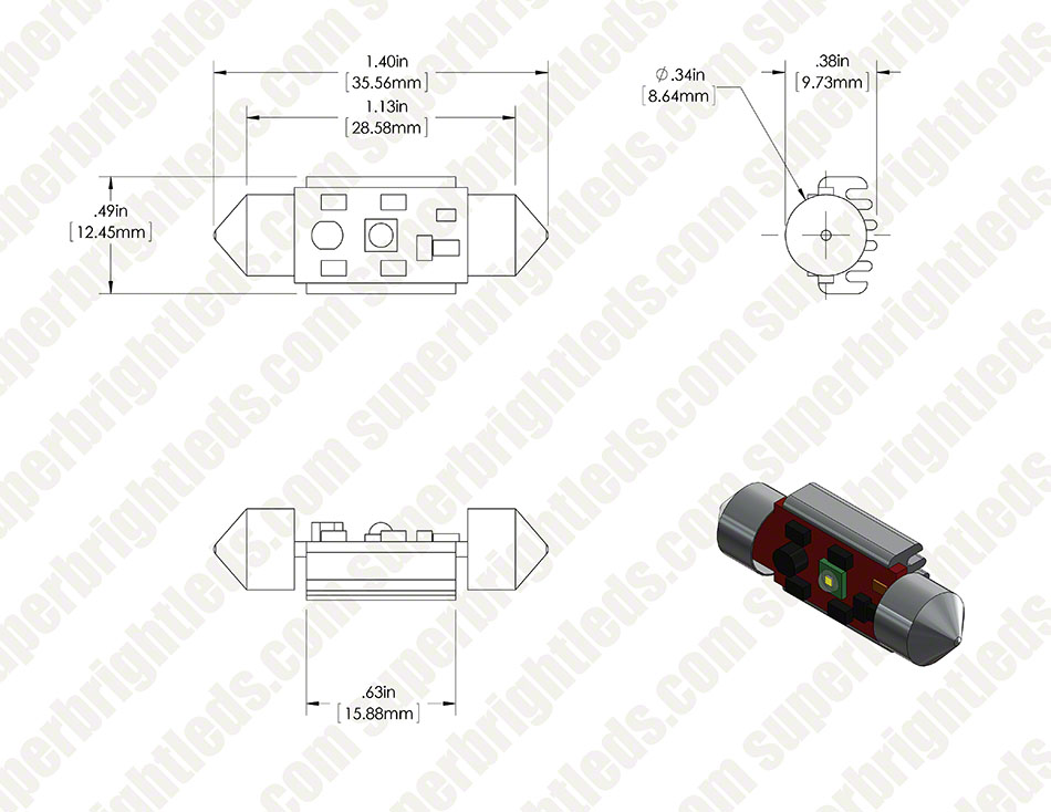 6418 LED CAN Bus Bulb - 1 LED Festoon
