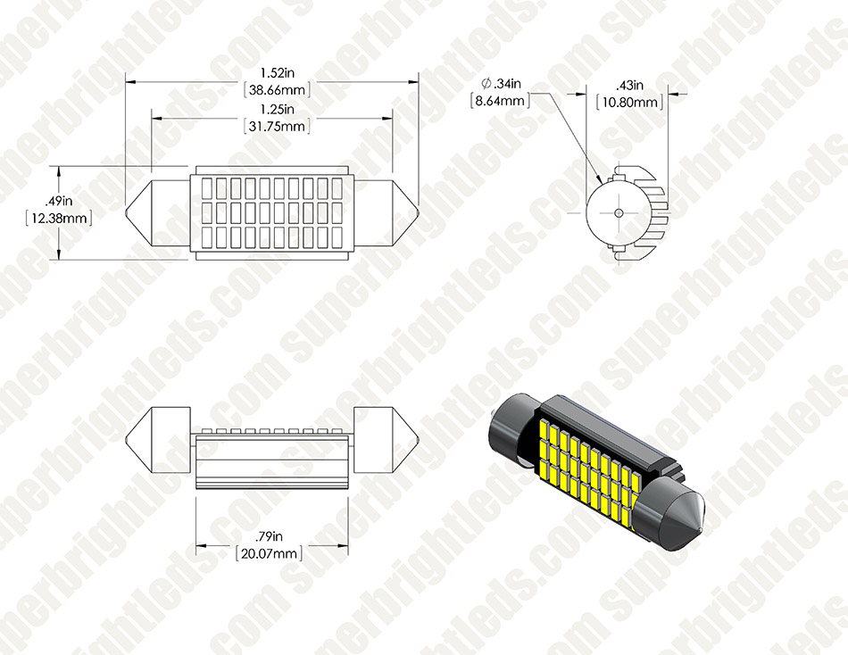3910 LED CAN Bus Bulb - 30 SMD LED Festoon - 39mm