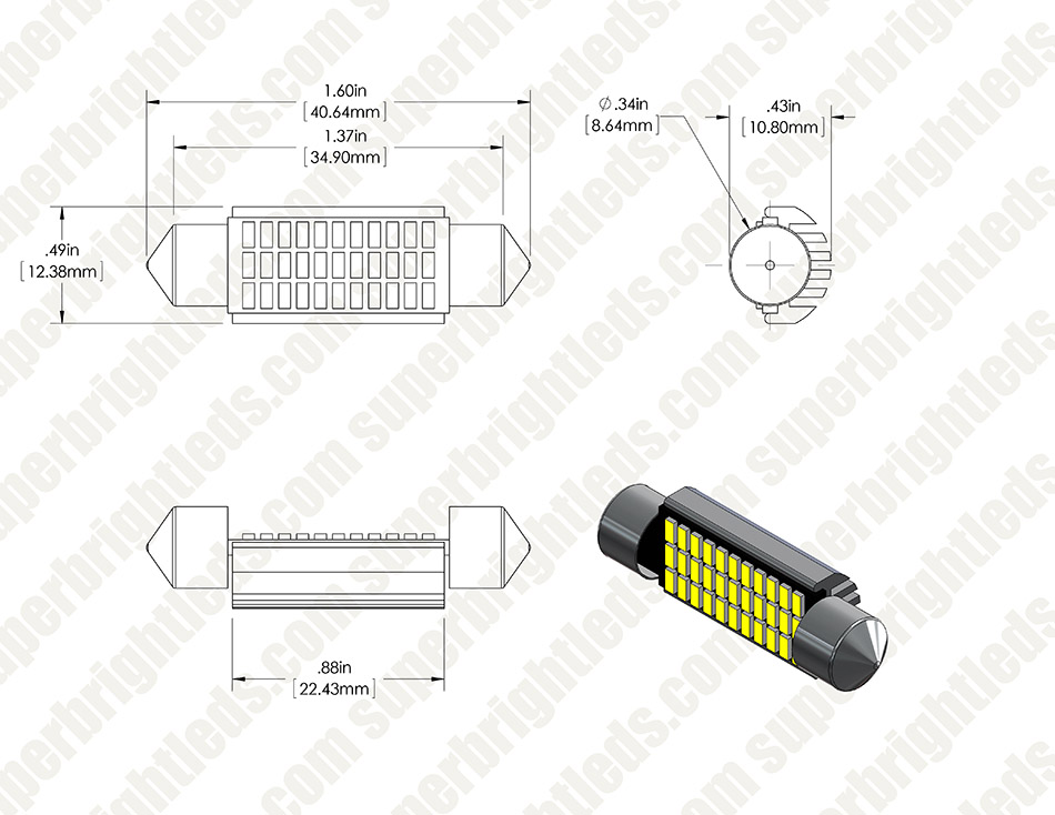 6451 LED CAN Bus Bulb - 33 SMD LED Festoon - 41mm/42mm