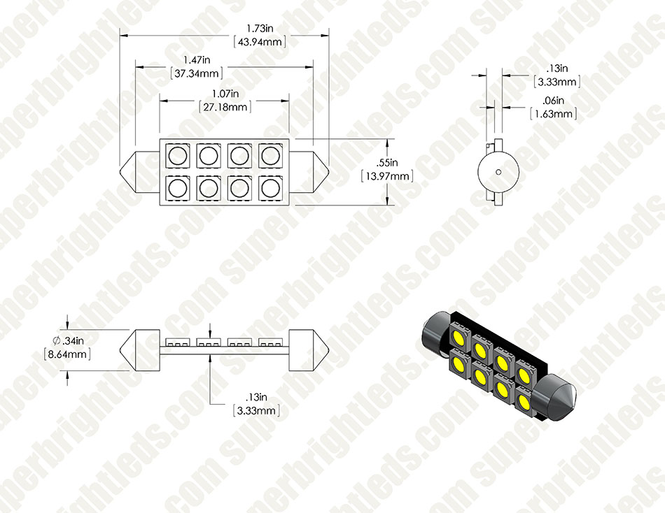 578 CAN Bus LED Bulb - 8 LED Festoon - 44mm