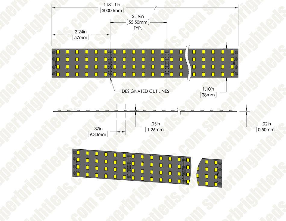 Bright color led strip lights custom length 24v led tape light bright color led strip lights custom length quad row led tape light with 132 smdsft 1 chip smd led 2835 aloadofball Images