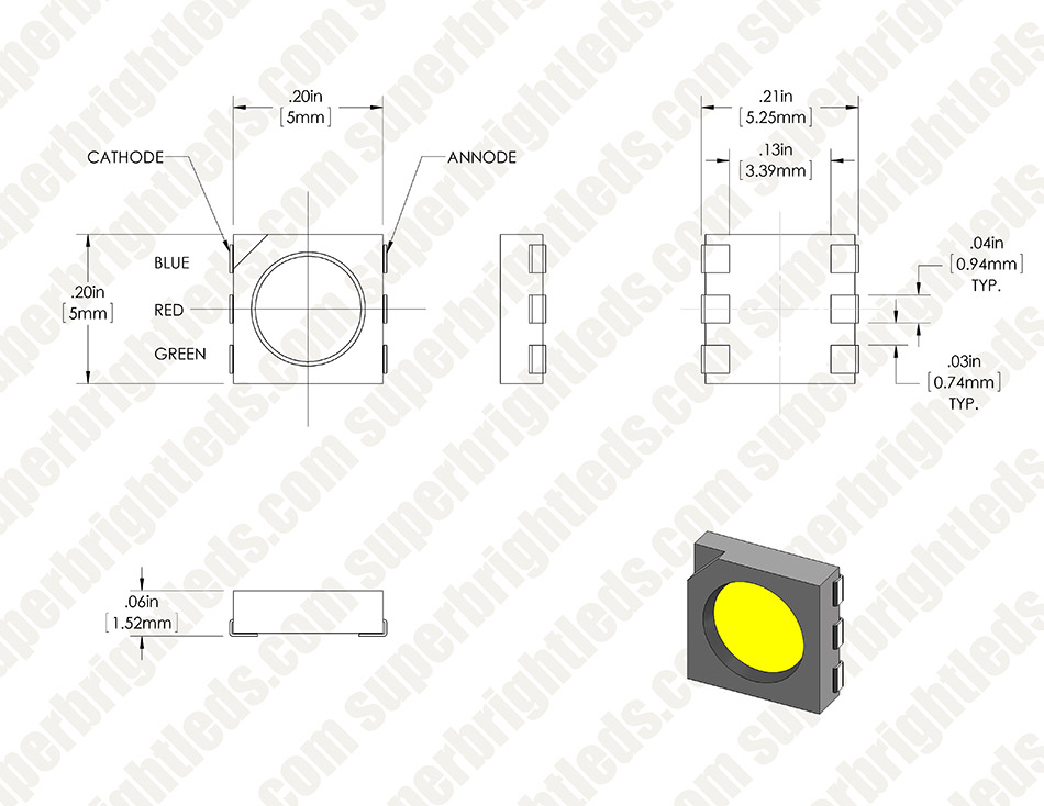 5050 SMD LED - RGB Surface Mount LED w/ 120 Degree Viewing Angle | Super Bright LEDs