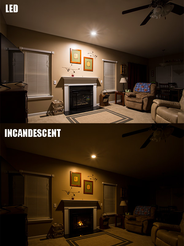 ... 155 Watt Equivalent   LED Can Light Conversion Kit   Dimmable   1,550  Lumens: Comparison To Incandescent. Installed Above Fireplace In Living Room Part 57