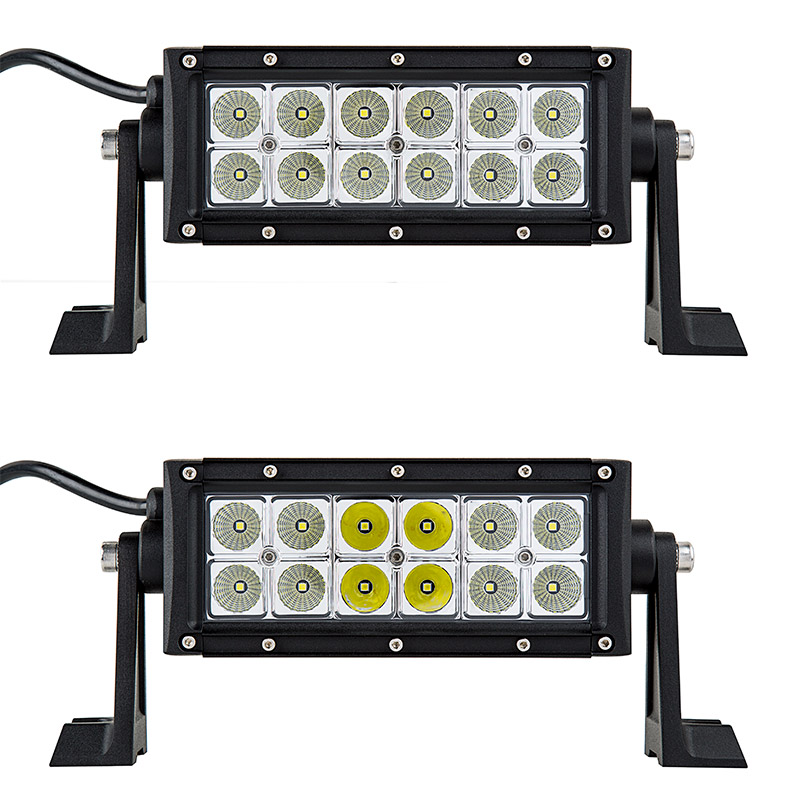 6 off road led light bar 18w 2300 lumens super bright leds 6 off road led light bar 18w showing front view of light bar in flood beam pattern top and combo beam pattern bottom aloadofball Images