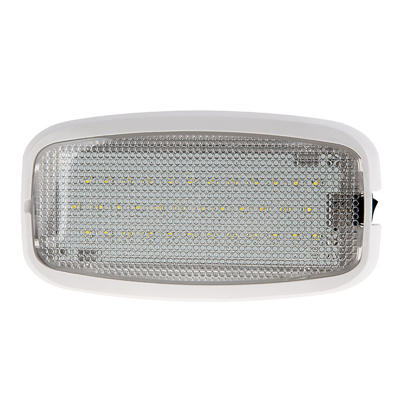 6 Rectangular Led Dome Light Fixture With Switch Front View