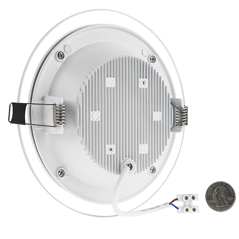 6  Round LED Recessed Light with Decorative Edge Lit Glass Panel Accent Light - 12W Back View With Size Comparison  sc 1 st  Super Bright LEDs & 6