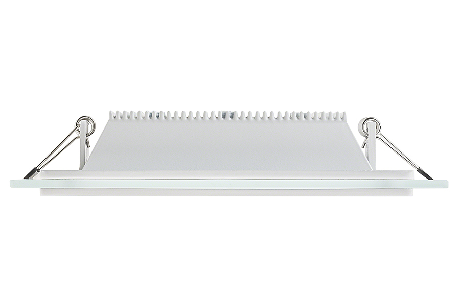 6 Square LED Panel Light With Edge Lit Glass Accent Light 80 Watt Equ