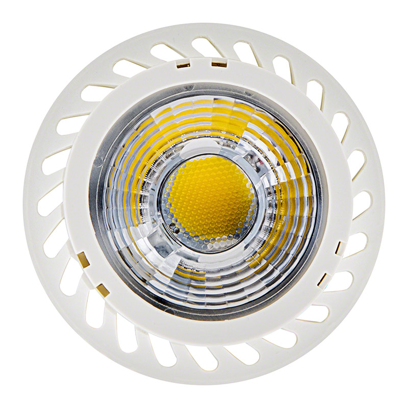 7 watt gu10 warm white led bulb lens with high power cob led front view